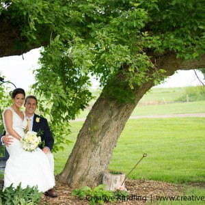 under tree couple